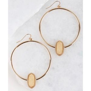 Jewelry - Druzy accented circle hook earrings